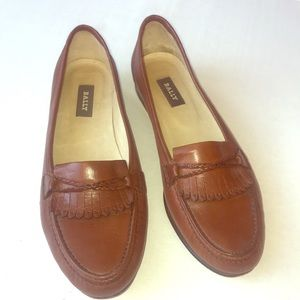 Bally cognac women's loafers 10M fringe leather
